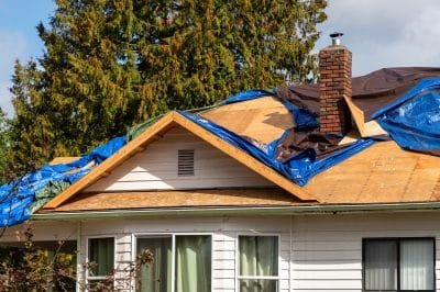 Home roof being repaired